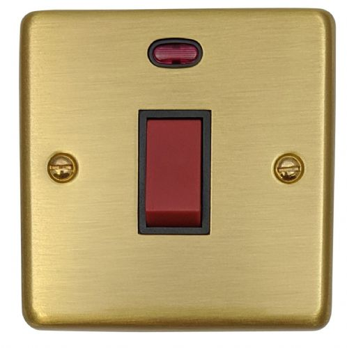 G&H CSB46B Standard Plate Satin Brushed Brass 45 Amp DP Cooker Switch & Neon Single Plate